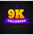 Thank you 9000 followers card thanks vector image vector image