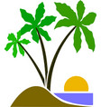three palm tree cartoon eps emblem vector image