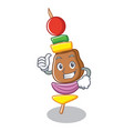 thumbs up barbecue character cartoon style vector image