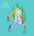 ui and ux design studio isometric flat vector image vector image
