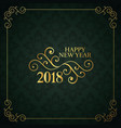 vintage style happy new year 2018 design vector image vector image