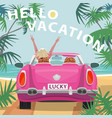 young blonde girl in pink cabriolet car on beach vector image