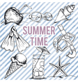 summer retro hand drawn design set vector image