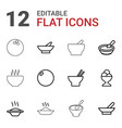 12 bowl icons vector image vector image