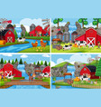 a set of rural farm landscape vector image vector image