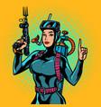 aqua woman diver spearfishing gun vector image