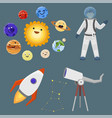 astronaut space landing planets spaceship solar vector image vector image