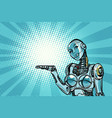 beautiful woman robot presents vector image vector image
