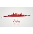 Beijing skyline in red vector image