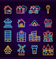 building neon icons vector image vector image