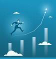 businessman running to the target goal business vector image