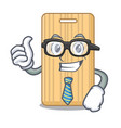 businessman wooden cutting board character cartoon vector image