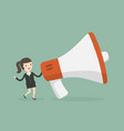 businesswoman with megaphone marketing concept vector image