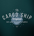 Cargo Ship Vintage Retro Design Elements for vector image vector image