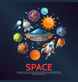 cartoon space round concept vector image vector image