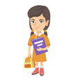 caucasian pupil with backpack and textbook vector image