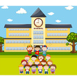 Children do human pyramid at school vector image vector image