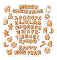christmas and new year text gingerbread alphabet vector image vector image