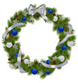 Christmas Wreath with Blue Decorations vector image vector image