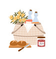 composition picnic basket with flowers vector image