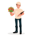 courier with a bouquet flower delivery vector image