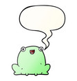 cute cartoon frog and speech bubble in smooth vector image vector image