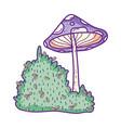 cute fungus with bush fairytale icon vector image vector image