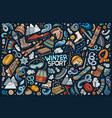 doodle cartoon set winter sports objects and vector image vector image