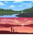 Family Fishing Horizontal Banners Set vector image vector image
