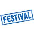 Festival blue grunge square stamp on white