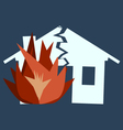 Fire Damage silhouette of broken house as of disas vector image