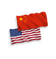 flags of china and america on a white background vector image vector image