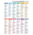 french calendar for year 2019 vector image vector image