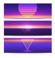 futuristic abstract banners with sun on the vector image vector image