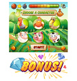 Game template with animals in the farm vector image vector image