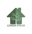 green home logo with leaves and tree design vector image vector image