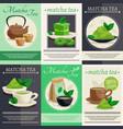 green matcha tea mini banners vector image vector image