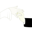 groom putting ring on brides finger vector image
