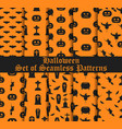 halloween set of seamless patterns with pumpkins vector image vector image