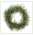hand-drawn green christmas wreath with red berries vector image