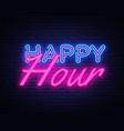 happy hour neon text happy hour neon sign vector image vector image