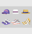 hat and shoes collection vector image