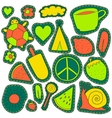 hippie embroidery neon palette summer patches vector image vector image