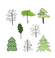 icon trees liner on white vector image