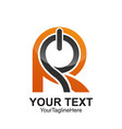 initial letter r logo template colored orange vector image vector image
