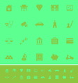 Insurance related color icons on green background vector image
