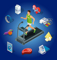 isometric healthy lifestyle concept vector image vector image