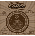 label for coffee on background with sacking vector image vector image