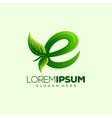 letter e leaf logo design vector image vector image