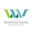 letter w combination v lettemark design vector image vector image